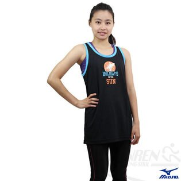 *2件85折*MIZUNO美津濃 吸溼排汗運動背心(黑)。85HM-10109 女可穿S.M號