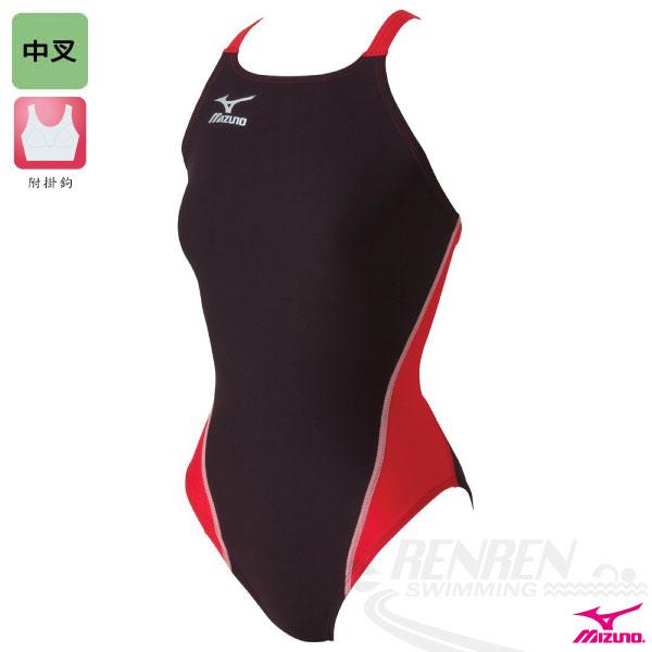 MIZUNO美津濃 EXER SUITS 女童用練習泳衣(黑*紅*銀)中叉 附掛鉤