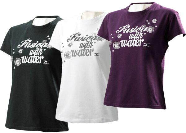 MIZUNO美津濃SWIM系列 印花女短袖T恤(白/黑/紫)  游泳國手程琬容代言85TW-160