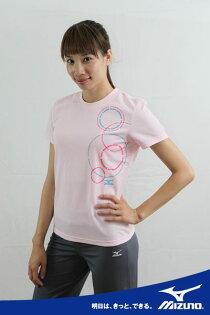 *運動甜心*MIZUNO美津濃LOVE SUMMER系列女短袖T恤(粉紅) 吸汗快排 56TL-16164