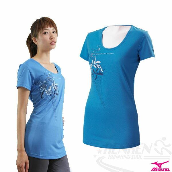 MIZUNO美津濃 女長版大U領輕柔感短袖T恤(藍) 吸汗快乾 85TW-16318