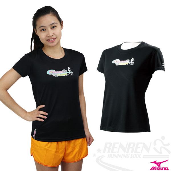 MIZUNO美津濃 女衝浪風短袖T恤(黑),吸濕快排 85TW-21309