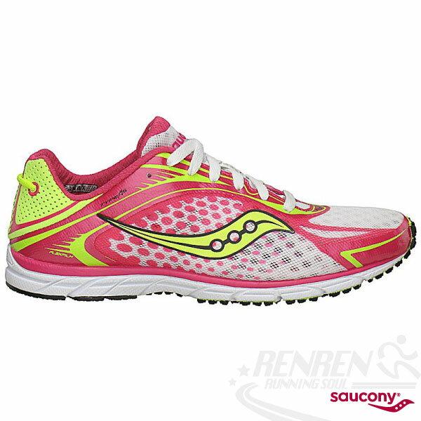 SAUCONY Grid Type A5 女輕量路跑鞋(螢光黃/粉紅/白) 三鐵鞋 馬拉松.鐵人三項適用 SY10144-3