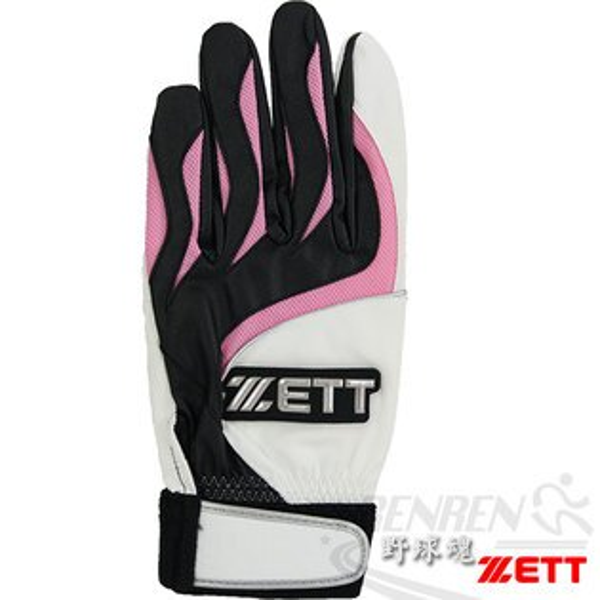 ZETT 高級合成皮革打擊手套(粉紅) BBGT-366P/B
