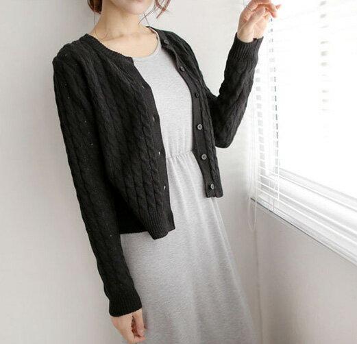 韓版針織外套 實穿麻花針織罩衫外套 艾爾莎【TAE2281】 2
