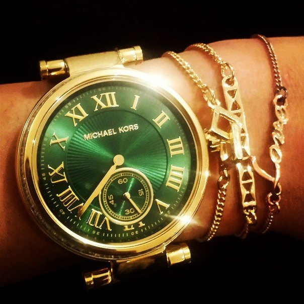 美國Outlet正品代購 MichaelKors MK 復古羅馬鑲鑽馬腦綠  陶瓷  三環 手錶 腕錶 MK6065 4