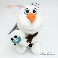 【UNIPRO】日貨 迪士尼正版 冰雪奇緣 FROZEN Q版 超萌 雪寶抱小雪寶 Olaf 坐姿 絨毛玩偶 娃娃
