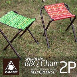 KAZMI/露營輕便折疊椅/排隊椅/陪考椅/經典民族風小板凳2入 台北山水