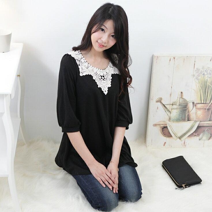 ~小麥衣櫥~正韓國空運直送韓系甜美刺繡蕾絲壓紋長袖長版針織上衣黑色A400301