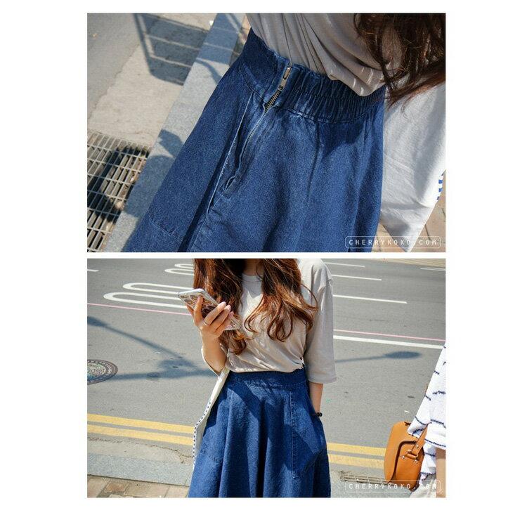 牛仔裙 - 大口袋造型側邊拉鍊A字中長傘裙【23291】藍色巴黎-現貨+預購 2