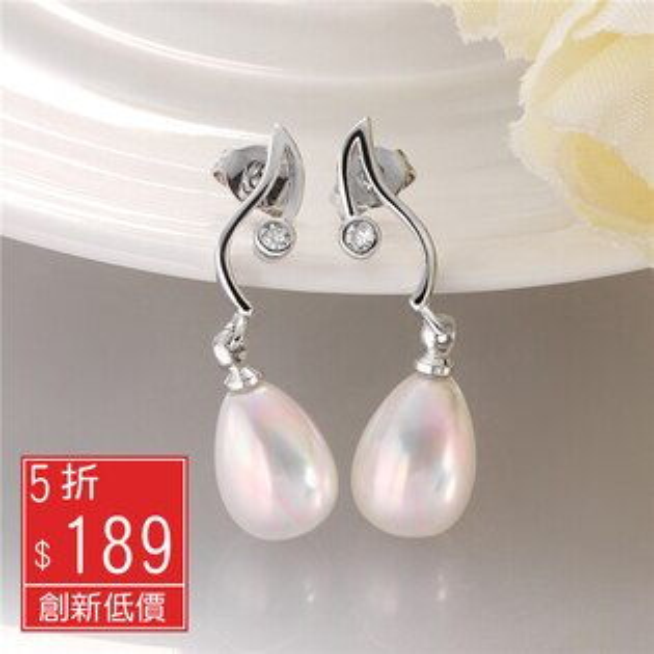Missyoyo  18K白金珍珠配鑽造型耳釘耳環【Q02ZE056】-預購
