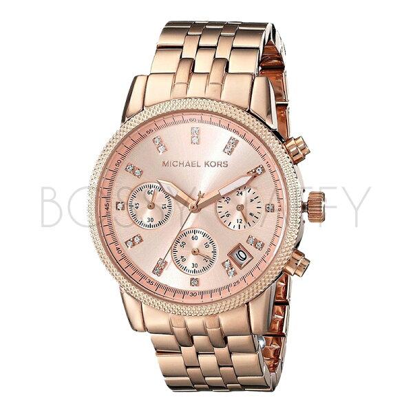 Michael Kors 玫瑰金三眼計時手錶 (MK6077)
