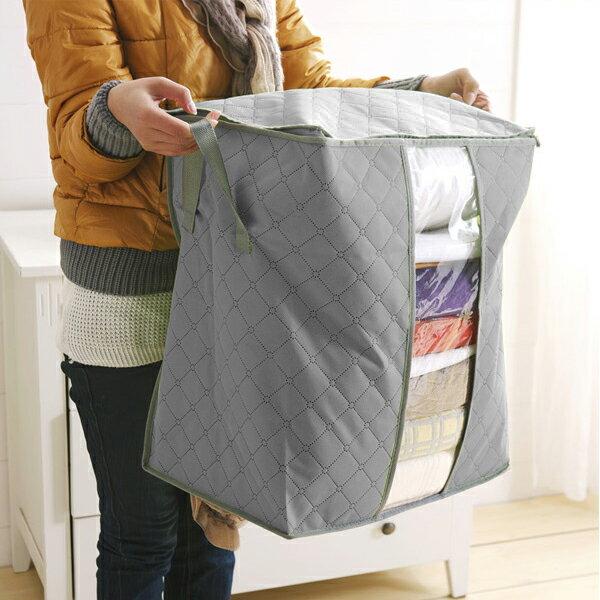PS Mall 竹炭衣物儲存袋 收納袋 衣服整理箱 大號 整理袋 儲物袋灰色【J1459】衣物 收納