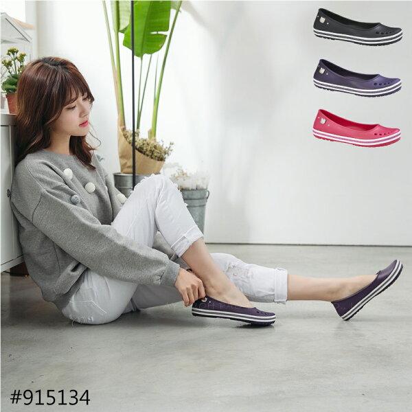 HELLO KITTY 凱蒂貓 915134 防水 玩水輕量 EVA 懶人鞋 便鞋 雨鞋 紫色 / 桃紅 /黑色