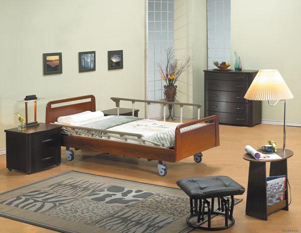 【康元】三馬達護理床玫瑰紅木電動床MB-888,贈品:餐桌板x1、床包x2、防漏中單x2