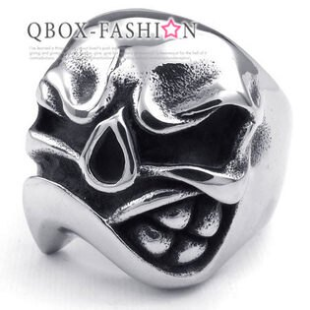 《 QBOX 》FASHION 飾品【W10023320】精緻個性憤怒骷髏頭鑄造316L鈦鋼戒指/戒環