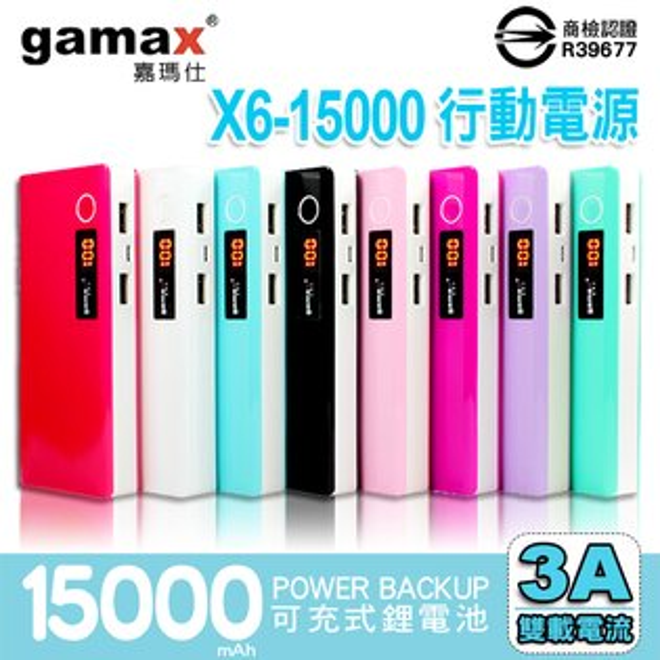 Gamax嘉瑪仕 X6 15000mAh 行動電源 LED液晶顯示 雙孔USB 5V 3A雙載電流 馬卡龍 移動電源