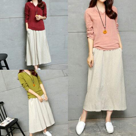 【森藝】日系森亞麻長袖衫+口袋中長裙