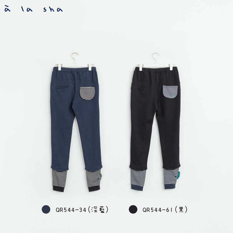 a la sha Qummi 素面剪接條紋合身褲 2