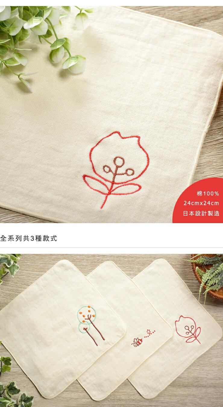 日本今治 - ORUNET - 刺繡手帕(花)《日本設計製造》《全館免運費》,有機棉,純棉100%,觸感細緻質地柔軟,吸水性強,日本設計製造,天然水洗滌工法,不使用螢光染料,不添加染劑