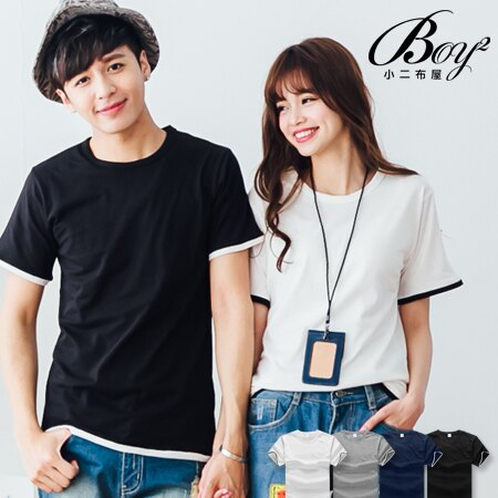 ☆BOY-2☆【PPK82137】情侶簡約素面假兩件短袖上衣 0