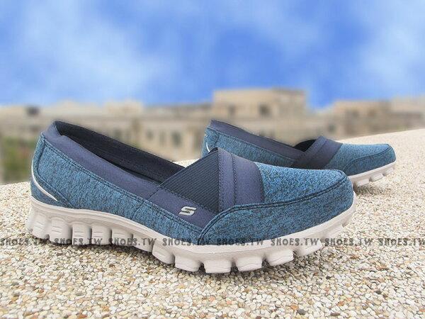 [23.5cm] Shoestw【22827NVY】SKECHERS 健走鞋 GOFLEX 娃娃鞋 淑女鞋 藍水洗 緞帶 記憶泡棉鞋墊