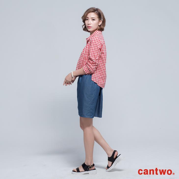 cantwo雙色格紋丹寧假兩件長袖洋裝(共三色) 2