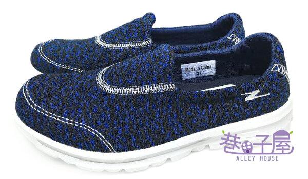 【巷子屋】FrigateBird軍艦鳥 女款編織記憶鞋墊懶人健走鞋 [168061] 藍黑 超值價$690