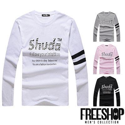 Free Shop~QR95030~日韓風格SHUDA斑馬紋字母印花圓領棉質長T長袖上衣潮