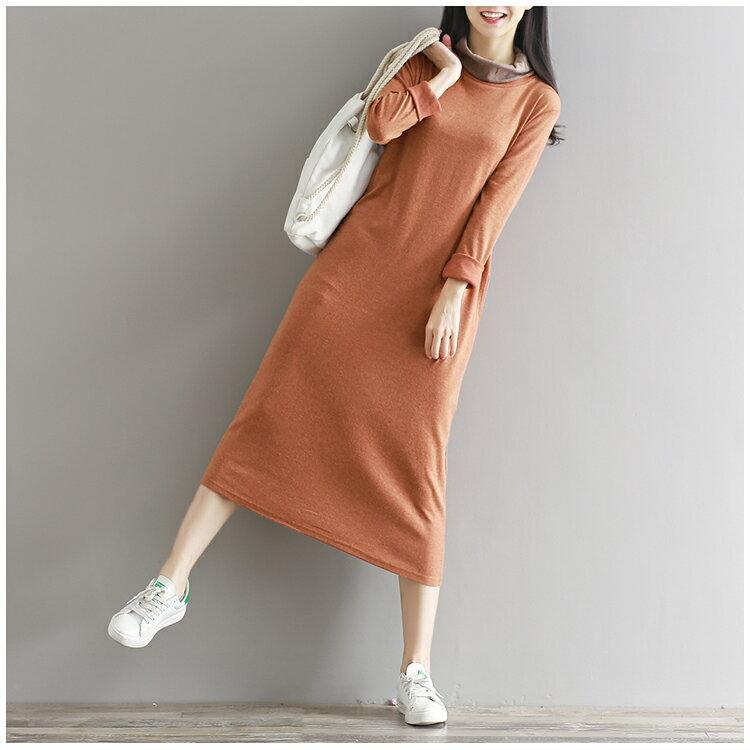 修身氣質針織棉質中長款長袖洋裝 ^(M~2XL^) ~ 御聖願
