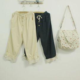 御聖願[再別康橋]森林系經典棉麻休閒褲九分褲寬鬆均碼腰拉繩二穿型款