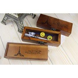 御聖願[巴黎鐵塔]韓系文具 ZAKKA風木製文具盒 巴黎鐵塔法國風情系列