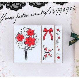御聖願--韓國somssicard㊣甜美蝴蝶花束小印章(4入)