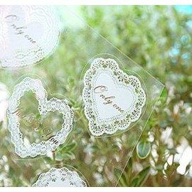 御聖願[最愛蝴蝶結]韓國日記卡片多功能貼紙 浪漫蕾絲印花透明貼纸 (3款)白色
