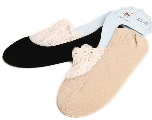 滿799再現折$100 [靴下?戀]復古vivi森林系蕾絲襪純棉白色花邊襪子襪隱形襪 - 御聖願