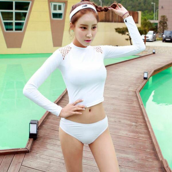PS Mall 韓版長袖防曬泳衣 二件式比基尼泳裝【ET556】泳衣 溫泉 沙灘 BIKINI