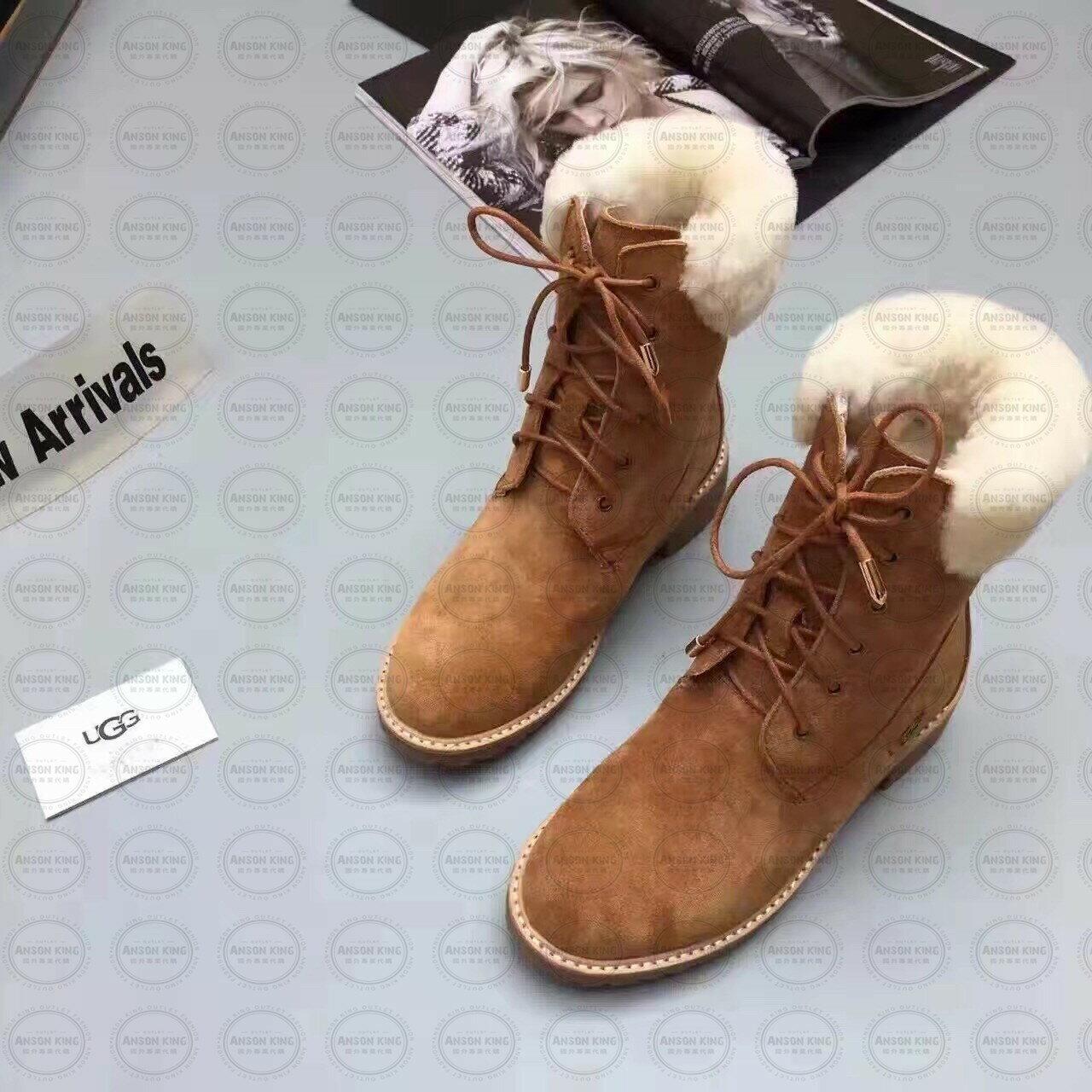 OUTLET正品代購 澳洲 UGG 女款經典復古翻毛 馬汀靴 中長靴 保暖 真皮羊皮毛 雪靴 短靴 棕色 0