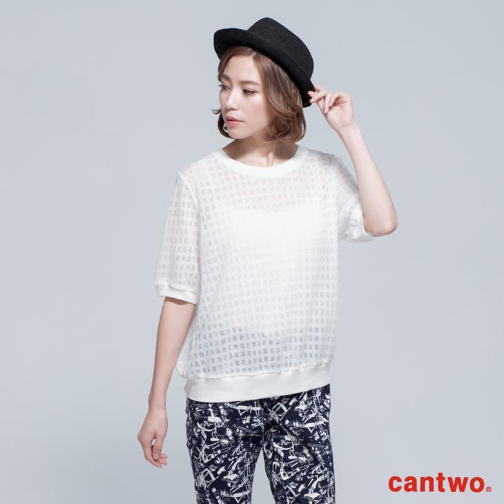 cantwo透視網紗格紋短袖上衣(共三色) 1