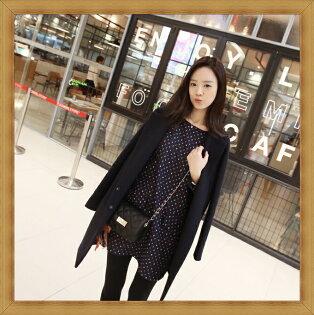 毛呢外套 長版大衣-溫暖氣質優雅羊毛女風衣2色53g3【韓國進口】【米蘭精品】