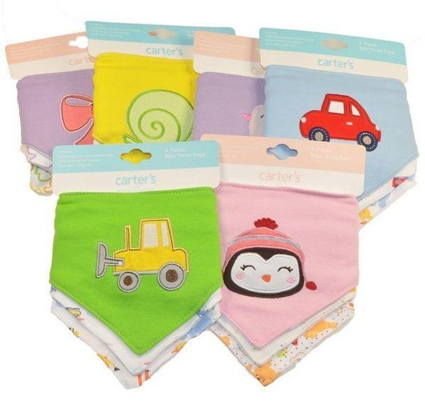 carter s嬰兒寶寶純棉雙層三角巾圍嘴口水巾加厚毛巾料按扣三條裝一組