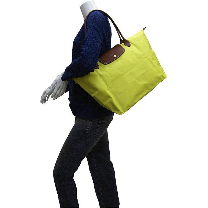 [長柄M號]國外Outlet代購正品 法國巴黎 Longchamp [1899-M號] 長柄 購物袋防水尼龍手提肩背水餃包 檸檬黃 4