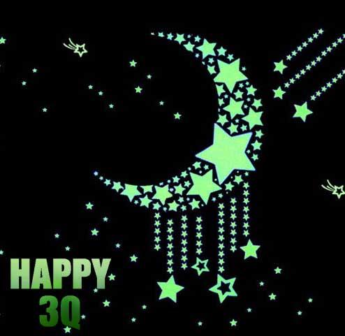 滿天星空夜光發光螢光星星月亮夜光貼兒童房臥室貼紙-多款【AAA0346】