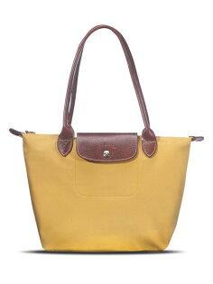 [2605-S號]國外Outlet代購正品 法國巴黎 Longchamp  長柄 購物袋防水尼龍手提肩背水餃包 姜黃色