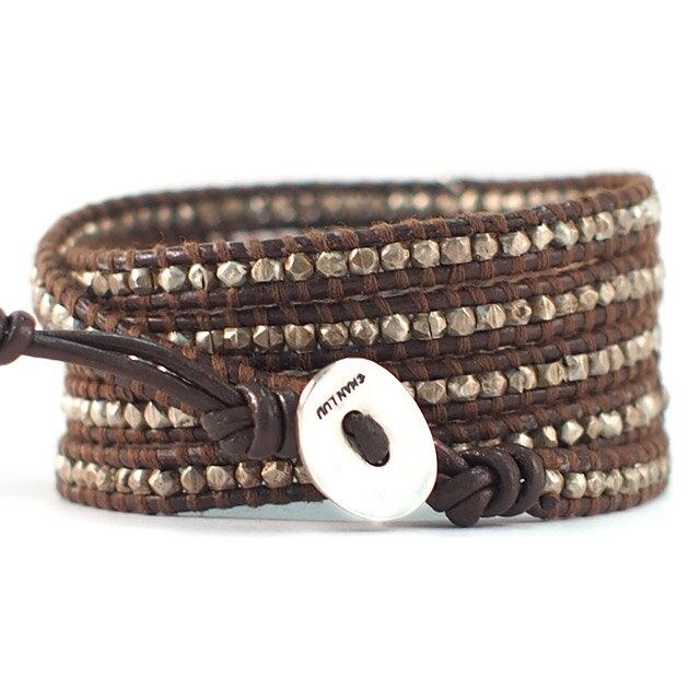 【現貨商品】【CHAN LUU】愛心純銀塊棕色皮繩手環/5圈 (CL-BS-2737Heart-Brown  0607150013) 2