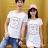 ◆快速出貨◆T恤.情侶裝.班服.MIT台灣製.獨家配對情侶裝.客製化.純棉短T.花紋邊框BOY GIRL【Y0318】可單買.艾咪E舖 0