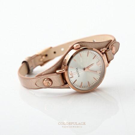 手錶 香檳金氣質女孩秀氣皮革腕錶 百搭約會造型 優雅淑女  柒彩年代【NE1561】單支售價 0