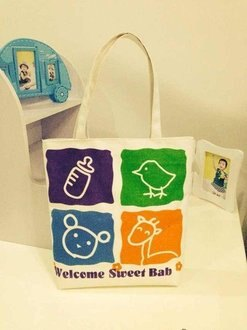 =優生活=韓國 帆布購物包 熊 長頸鹿 奶瓶 可愛圖案媽媽包 補習包 側背包 單肩包 手提袋