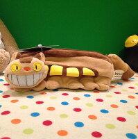 宮崎駿龍貓周邊商品推薦=優生活=宮崎駿龍貓 TOTORO 貓咪公車 龍貓公車毛絨筆袋 收納袋 筆盒 娃娃 化妝包
