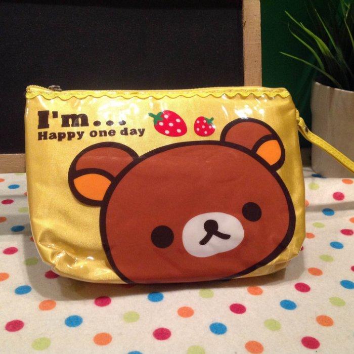 =優 =拉拉熊 懶懶熊 卡通小熊草莓防水化妝包 收納包 小提包 筆袋 ~  好康折扣