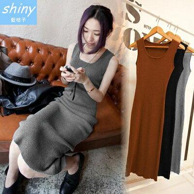 【V0418】shiny藍格子-修身美感.顯瘦圓領腰身無袖背心連身長裙